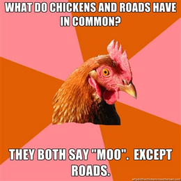 chicken meme - what do chickens and roads have in common?